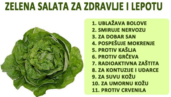 zelena salata zdravlje i lepota infografik.